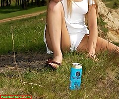 Spying on beautiful  teen peeing in the forest