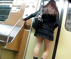 Up skirt of blonde schoolgirl