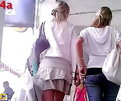 Girl's candid upskirt out on busy street