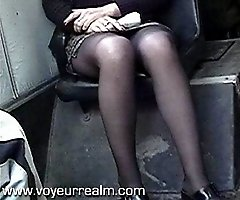 Upskirt hidden voyeur shots taken in the bus